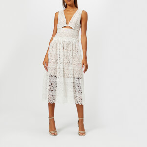 Self-Portrait Women's Cut Out Lace Midi Dress - White