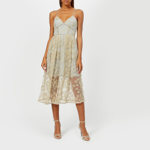 Self-Portrait Women's Floral Embroidered Mesh Midi Dress - Gold-Grey