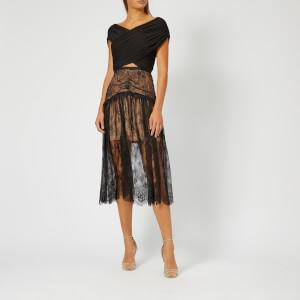 Self-Portrait Women's Black Fine Lace Midi Dress - Black