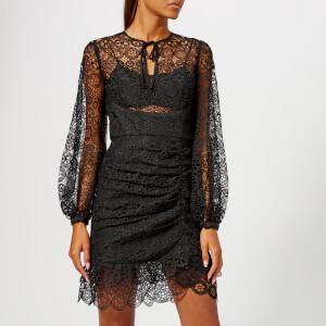 Self-Portrait Women's Black Circle Floral Lace Mini Dress - Black