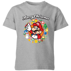 Nintendo Super Mario Mario Merry Christmas Wreath Kids' T-Shirt - Grey