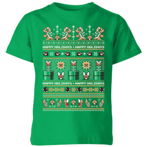 Nintendo Super Mario Happy Holidays The Bad Guys Kinder T-Shirt - Grün
