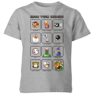 Nintendo Super Mario Know Your Enemies Kid's T-Shirt - Grey