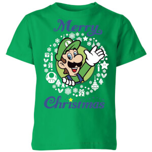 T-Shirt Nintendo Super Mario Luigi Merry Christmas Kid's - Kelly Green