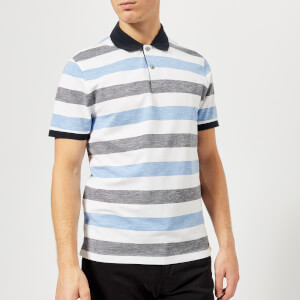 Michael Kors Men's Cotton Linen Stripe Polo Shirt - Midnight