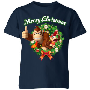 Nintendo Donkey Kong Wreath Thumbs Up Kid's Christmas T-Shirt - Navy
