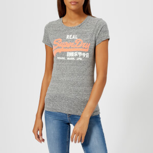 Superdry Women's Vintage Logo Stripe Entry T-Shirt - Black/Charcoal Stripe