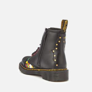 Dr. Martens Kids' 1460 J Pooch Flower T Lamper Leather Lace Up Boots - Black: Image 2