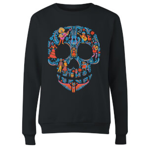 Coco Skull Pattern Women's Sweatshirt - Black