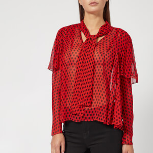 Diane von Furstenberg Women's Neck Tie Blouse - Baker Dot Vermillion