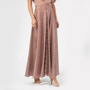 Diane von Furstenberg Women's High Waisted Draped Maxi Skirt - Baker Dot Small Sienna