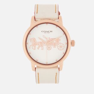 Coach Women's Grand Leather Strap Watch - Rou Chalk