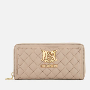 Love Moschino Women's Quilted Zip Around Purse - Beige