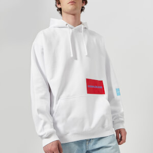 Calvin Klein Jeans Men's Multi Logo Fleece Relaxed Hoody - Bright White/Sky Blue