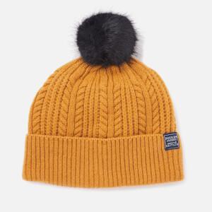 Joules Women's Bobble Hat Fine Cable with Faux Fur Pom - Caramel