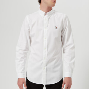 PS by Paul Smith Men's Tailored Fit Long Sleeve Oxford Shirt - White