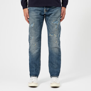 Edwin Men's ED-55 Regular Tapered Rainbow Selvage Denim Jeans - Haruku Repair Wash