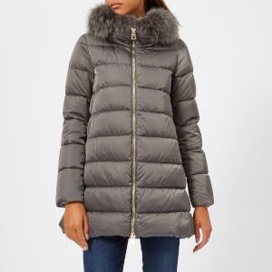 Herno Women's Down Padded Coat with Fur Collar - Grey