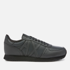 Armani Exchange Men's Punched Action Leather Running Style Trainers - Black