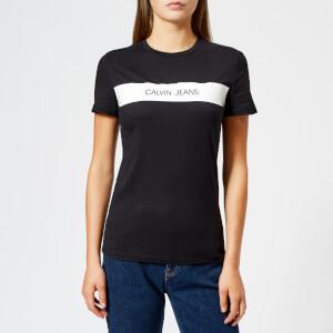 Calvin Klein Jeans Women's Logo Vinyl Stripe Regular Fit T-Shirt - CK Black