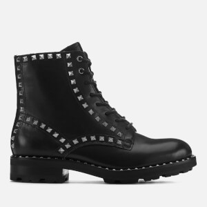 Ash Women's Wolf Leather Studded Lace Up Boots - Black