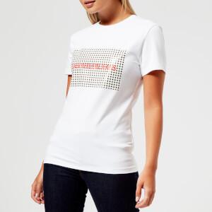Calvin Klein Jeans Women's Institutional Logo Gingham Reg T-Shirt - Bright White/CK Black