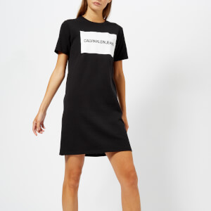 Calvin Klein Jeans Women's Institutional Box Logo T-Shirt Dress - CK Black
