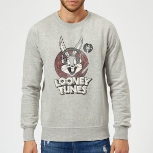 Sweat Homme Bugs Bunny Logo Cercle Looney Tunes - Gris