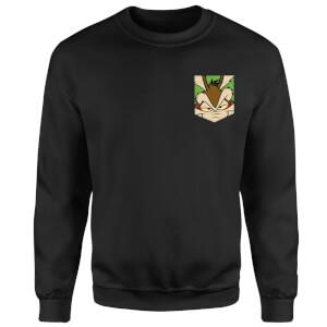 Looney Tunes Wile E Coyote Face Faux Pocket Sweatshirt - Black
