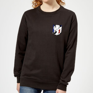Looney Tunes Pepe Le Pew Face Faux Pocket Women's Sweatshirt - Black