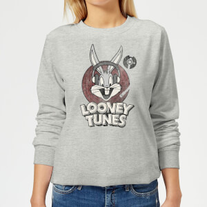 Sweat Femme Bugs Bunny Logo Cercle Looney Tunes - Gris