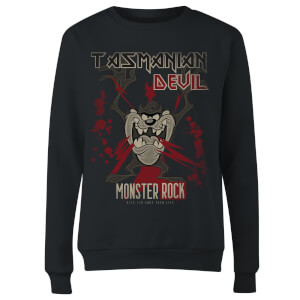 Looney Tunes Tasmanian Devil Monster Rock Women's Sweatshirt - Black