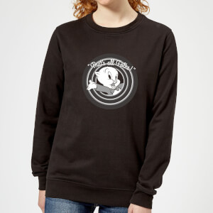 Looney Tunes That's All Folks Porky Pig Women's Sweatshirt - Black