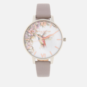 Olivia Burton Women's Painterly Prints Watch - Grey Lilac, Silver/Rose Gold