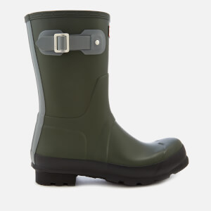 Hunter Men's Original Short Colourblock Wellies - Dark Olive