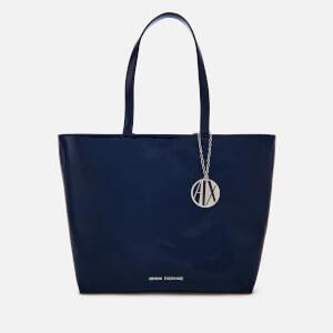 Armani Exchange Women's Patent Logo Tote Bag - Blue
