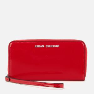 Armani Exchange Women's Zip Wristlet Round Zip Purse - Red