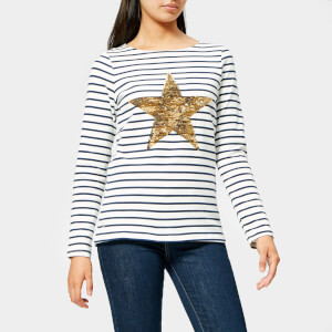 Joules Women's Harbour Luxe Star Stripe Jersey Top - Cream
