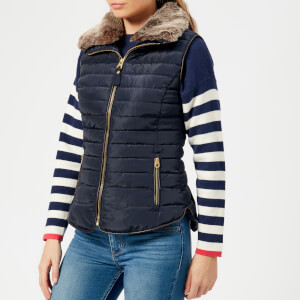 Joules Women's Melbury Padded Gilet with Faux Fur Trimmed Hood - Marine Navy