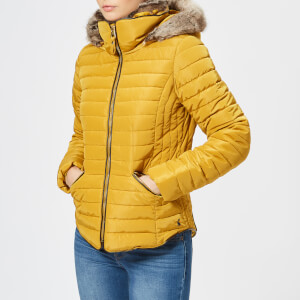 Joules Women's Gosling Short Padded Coat with Faux Fur Trimmed Hood - Caramel