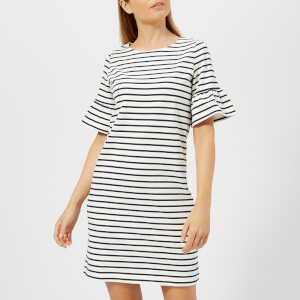 Joules Women's Sienna Fluted Sleeve Jersey Dress - Cream Navy Stripe