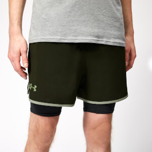 Under Armour Men's Qualifier 2-In-1 Shorts - Artillery Green