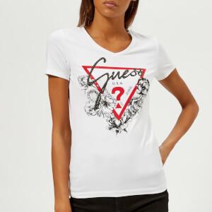 Guess Women's Short Sleeve V-Neck Roses T-Shirt - True White