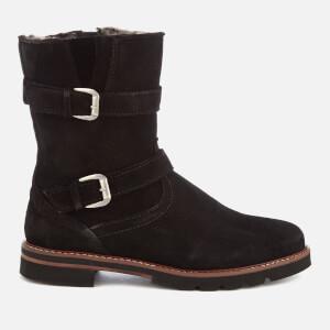 Dune Women's Rhianne Suede Buckle Biker Boots - Black