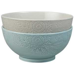 Denby Monsoon Gather Set Of 2 Large Serving Bowls - Grey/Green