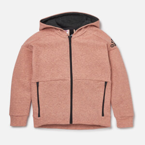 adidas Girls ID Stadium Hoody - Stadium Heather/Haze Coral