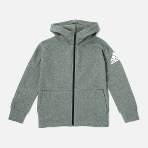 adidas Boys' Stadium Full Zip Hoody - Stadium Heather/Base Green