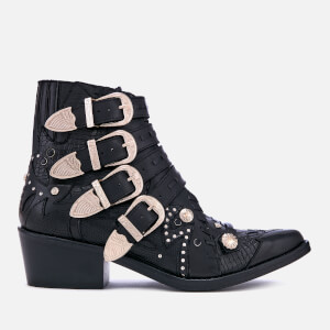 Toga Pulla Women's Buckle Leather Heeled Ankle Boots - Black