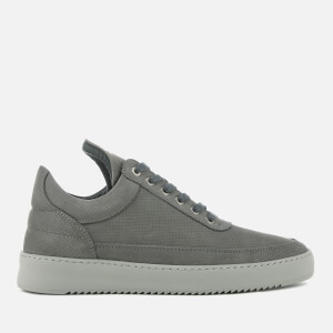 Filling Pieces Men's Nubuck Perforated Low Top Trainers - Antracite