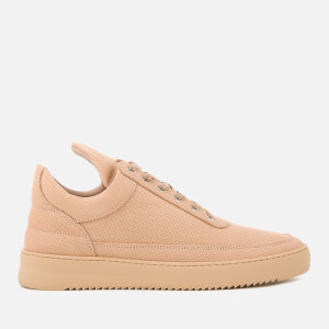 Filling Pieces Men's Nubuck Perforated Low Top Trainers - Nude